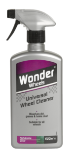 Wonder Wheels Universal Wheel Cleaner cuts through dirt, grease and brake dust effortlessly. Suitable for use on lacquered wheels, painted steel wheels and plastic wheel trims, Wonder Wheels Universal Wheel Cleaner is quick and effective. Simply spray on, agitate and hose off for outstanding results. Using a quality cleaner is essential to clean, shine and protect your wheels - that's why Wonder Wheels Universal Wheel Cleaner is used by the professionals. <a href='car-care/wheels/universal-wheel-cleaner'>Read more</a>