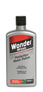 The latest Nanomeric technology in Wonder Wheels Perfection Resin Polish effortlessly restores colour and depth of shine back to paintwork. The fast acting formula penetrates the paintwork to restore a tough showroom shine back to your vehicle, wash after wash - time after time. Wonder Wheels Perfection Resin Polish not only leaves a mirror finish, but provides long lasting protection to paintwork. <a href='car-care/paintwork/perfection-resin-polish'>Read more</a>