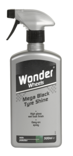 Revitalises tyres and trim to provide optimum shine and ultimate protection that lasts. Wonder Wheels Mega Black Tyre Shine nourishes tyres with a special lubricant to help combat the effects of crazing on tyre walls. Easy-on spray formula with long lasting gloss enhancers for a showroom shine. <a href='car-care/tyres/mega-black-tyre-shine'>Read more</a>