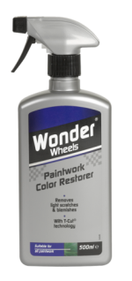 Wonder Wheels Paintwork Color Restorer revives depth of shine and colour in one easy application. The effective formula restores the original colour and lustre to paintwork using licensed T-Cut technology. Carefully removes oxidation, scratches, tar spots, baked on insect deposits and ingrained road grime whilst providing ultimate paintwork protection. Use regularly to rejuvenate paintwork and create a flawless finish time after time. <a href='car-care/paintwork/paintwork-color-restorer'>Read more</a>