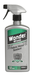 Specially formulated to instantly recondition and protect fabric hoods, reviving colour back to its original intensity. Suitable for all fabric hood colours, Wonder Wheels Fabric Hood Sealant is quick and easy to use. Apply to hood after cleaning with Wonder Wheels Fabric Hood Cleaner to reproof, seal and preserve the cabriolet hood. <a href='car-care/sealants/fabric-hood-sealant'>Read more</a>