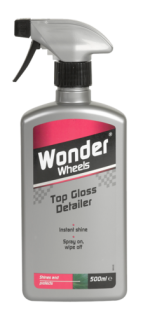 Wonder Wheels Top Gloss Detailer creates an instant shine with simple easy on - easy off formulation. Shines like a wax without the polishing, buffing or hard work. Use in between washes for an instant showroom finish. Simply spray on and wipe off to ensure paintwork is clean, shiny and immaculate. <a href='car-care/paintwork/top-gloss-detailer'>Read more</a>