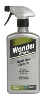 Wonder Wheels Roof Box Cleaner has been specially formulated to effectively lift and remove unsightly contaminants without damaging your roof box. Bugs and debris should be cleaned from roof boxes prior to storage to ensure longevity. The unique multi purpose cleaner dissolves stubborn insect deposits, tree sap, bird lime, stubborn greasy marks and much more, restoring the box back to its original intensity. Easy spray on - wipe off application. <a href='car-care/exterior/roof-box-cleaner'>Read more</a>