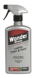 Cleans and conditions leather upholstery and trim, leaving a subtle leather aroma. Unique dual action formula feeds and nourishes leather, putting the softness back in to it. Leather seats, if left untreated , can dry out and crack. Using Wonder Wheels Leather Clean &amp; Feed will replace essential oils, restore the luxurious leather aroma and enhance the colour back to its original intensity. Simply apply and wipe off. <a href='car-care/interior/leather-clean-feed'>Read more</a>