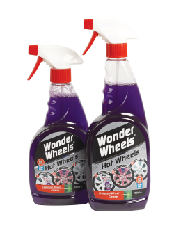 Wonder Wheels Hot Wheels is an acid free wheel cleaner which contains an active indicator that turns the wheel red as it reacts with & dissolves the dirt & brake dust. Hot Wheels easily removes baked on brake dust, road grime, dirt, grease and oil quickly and effectively - with no brushing required and minimal effort. <a href='wheel-care/universal-wheel-cleaner/hot-wheels'>Read More</a>