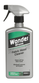Dual action formula effortlessly removes bird lime, dirt and grime whilst cleaning and revitalising the appearance of the hood. Wonder Wheels Fabric Hood Cleaner works deep in to the fabric hood surface to lift stubborn stains and grime without impairing the appearance of the hood. Use regularly to keep fabric hood looking clean d the colour rich. For ultimate protection follow with Wonder Wheels Fabric Hood Sealant. <a href='car-care/exterior/fabric-hood-cleaner'>Read more</a>