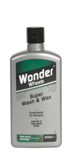 Wonder Wheels Super Wash &amp; Wax car shampoo effortlessly removes traffic film and dirt, leaving your paintwork squeaky clean. The chemically balanced formula of detergents and surface active ingredients provides a high gloss, long lasting shine - time after time. <a href='car-care/paintwork/super-wash-wax'>Read more</a>