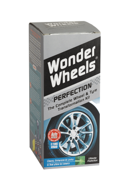 Wonder Wheels Perfection has been specially designed to take dirty, dull wheels and transform them into an amazing showroom shine that lasts for weeks - not days. <a href='wheel-care/cleaning-kit/perfection-kit'>Read more</a>